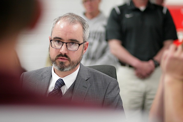 Attorney Phillip Visnansky represented Tyler Kelly, who was suspended Monday for 180 days by the Mingus Union school board for sexually related hazing. (Photo by Bill Helm)