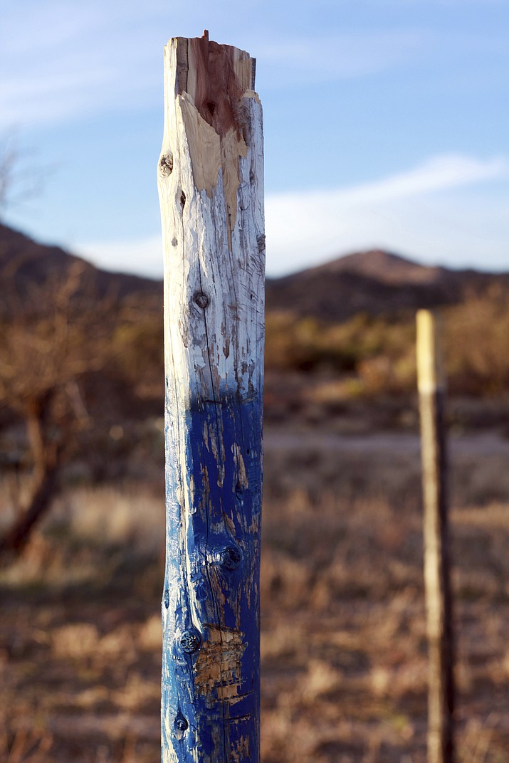A cross is left vandalized at a prayer site at the Oak Flat Campground in Superior, Arizona. (Vansler Nosie Sr. via AP)