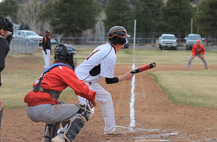 Viking Michael McNelly prepares to bunt during a game with Mayer March 24. (Wendy Howell/WGCN)