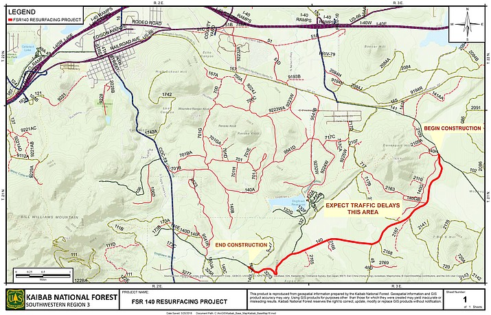 Those visiting Dogtown Lake and nearby areas can expect road construction on FS140 through the end of May. (USFS)