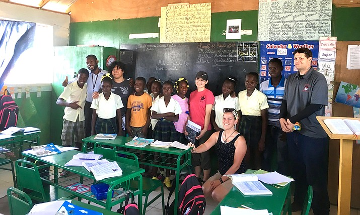 Mingus Interact Club members Saya Federbush and Andy Davila, along with teachers Kristy Meyers and Chris Furry experienced hands-on service-learning opportunities during their trip to the Jubilee Blanc School in Gonaives, Haiti. Courtesy photo