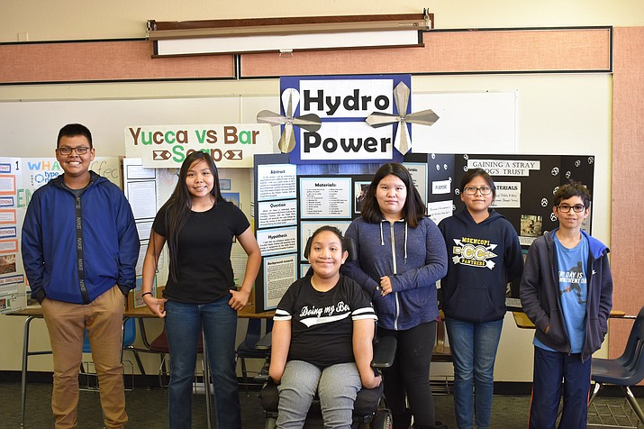 Six Tuba City Junior High School students were winners in the Navajo Nation Science Fair. Two students won first place for their projects and  traveled to the Arizona State Science Fair in Phoenix. (Rosanda Suetopka/NHO)