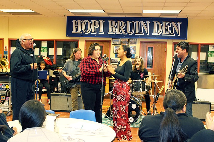 Hopi High students Hailey Kardell and Stacy Charley, also known as the Fry Bread Sisters, perform with Gary Farmer and the Troublemakers. (Stan Bindell/NHO)