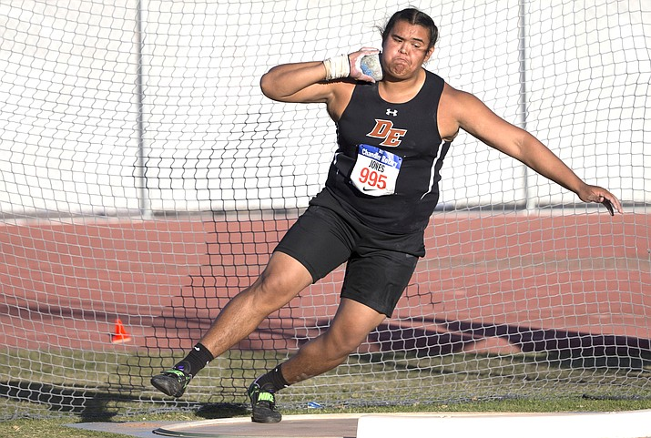 Goodyear Desert Edge senior Tyson Jones currently owns 9 of the 12 farthest throws in Arizona history, including his national-leading mark of 70-feet, 4.5 inches. Photo courtesy AzCentral.com