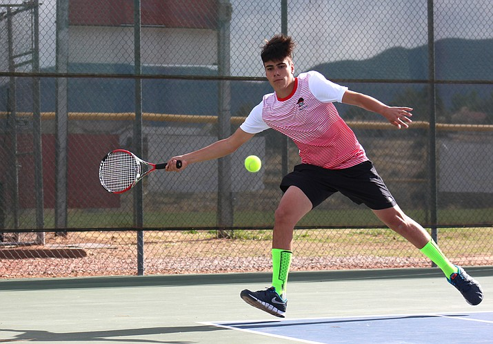 Mingus Union senior Pedro Cremasco won the No. 1 singles match 6-0, 7-5 during the Marauders' 9-0 win over Flagstaff on Tuesday at home. (VVN/James Kelley)
