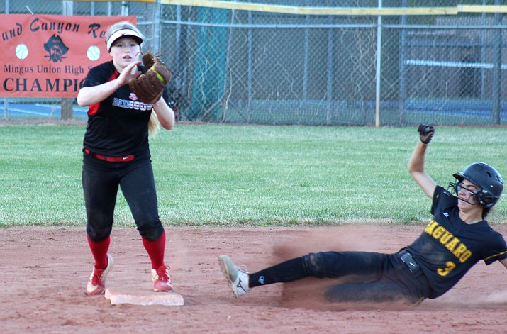 Mingus junior Ashley McCracken forces out a runner during the Marauders' 9-1 win over Scottsdale Saguaro. Mingus Union debuted at seventh in the first rankings of the season and have since risen to No. 4. (VVN/James Kelley)