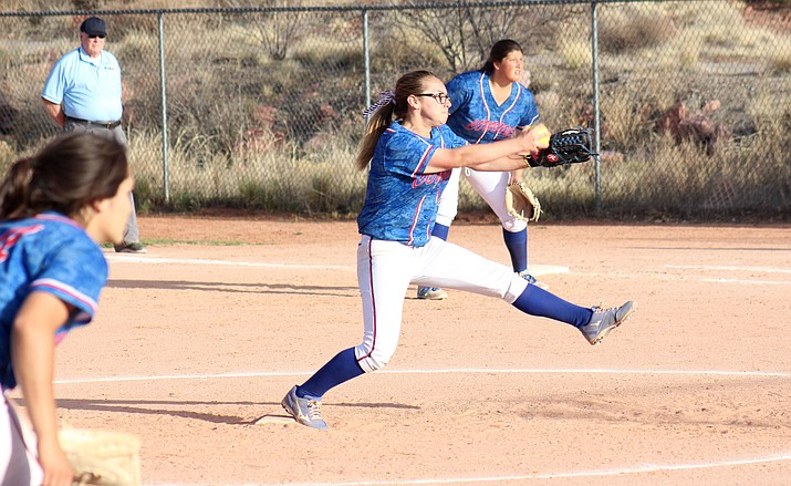 Camp Verde sophomore JoJo Cowsert pitches during the Cowboys' 23-3 win at Sedona Red Rock on Thursday. (VVN/James Kelley)