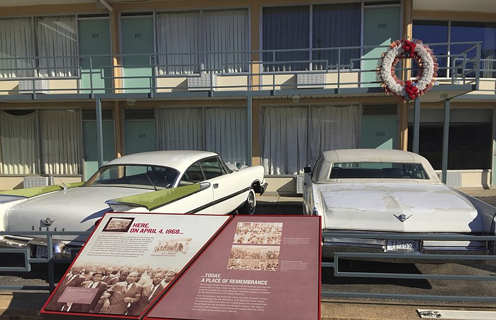 This March 13, 2017, file photo, shows a view of the former Lorraine Motel balcony, where Martin Luther King Jr. was fatally shot April 4, 1968, in Memphis, Tenn. The former motel is now part of the National Civil Rights Museum. The 50th anniversary of his death is Wednesday, April 4, 2018. (Beth J. Harpaz/AP, File)