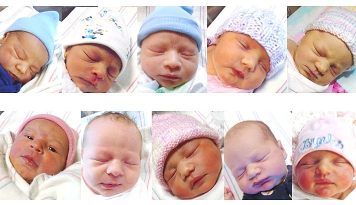 From left, top row: Gabriel Elias Raboy, a 7 lb., 14 oz. boy born Saturday, Feb. 24, at Yavapai Regional Medical Center to Roxanne and Nicholas Raboy of Prescott; Aaron Alexander Mendez Beltran, a 5 lb., 14 oz. boy, born Wednesday, Feb. 7, at Yavapai Regional Medical Center to Isabel Beltran Romaniz and Roberto Mendez Sanchez of Prescott Valley; Nathaniel James Martinez, a 7 lb., 11 oz. boy born Monday, Feb. 12, at Yavapai Regional Medical Center to Christine Middleton and Jerry Martinez of Prescott Valley; Rhyann Madilynn-Shea Larocque, a 7 lb., 13 oz. girl, born Tuesday, Feb. 20, at Yavapai Regional Medical Center to Suzanne Lipschutz and Christopher Larocque of Prescott Valley; Samantha Rose Langston, a 6 lb., 9 oz. girl, born Saturday, Feb. 17, at Yavapai Regional Medical Center to Sharleen Ranae Jenniges and Jason Robert Langston of Prescott Valley; and from left, bottom row: Delilah Rae Holloway, an 8 lb., girl, born Saturday, Feb. 10, at Yavapai Regional Medical Center to Adrianna Santillan and Donald Holloway of Prescott; Delilah Rae Holloway, an 8 lb., girl, born Saturday, Feb. 10, at Yavapai Regional Medical Center to Adrianna Santillan and Donald Holloway of Prescott; Avery Rose Hill, a 7 lb., 7 oz. girl, born Friday, Feb. 23, at Yavapai Regional Medical Center to Keana Douglass and Ethen Hill of Prescott; Logan Scott Hemmah, a 7 lb., 6 oz. boy, born Thursday, Feb. 8, at Yavapai Regional Medical Center to Pamela Fullerton and Raymond Hemmah of Mayer; and Brynlee Quinn Gutierrez, a 7 lb., 14 oz. girl, born Thursday, Feb. 22, at Yavapai Regional Medical Center to Courtney and Levi Gutierrez of Prescott Valley. No photo provided for Kooper Ridge Griffith, an 8 lb., 9 oz. boy, born Wednesday, Feb. 21, at Yavapai Regional Medical Center to Joanne Meleleu and Sebastian Griffith of Prescott Valley.