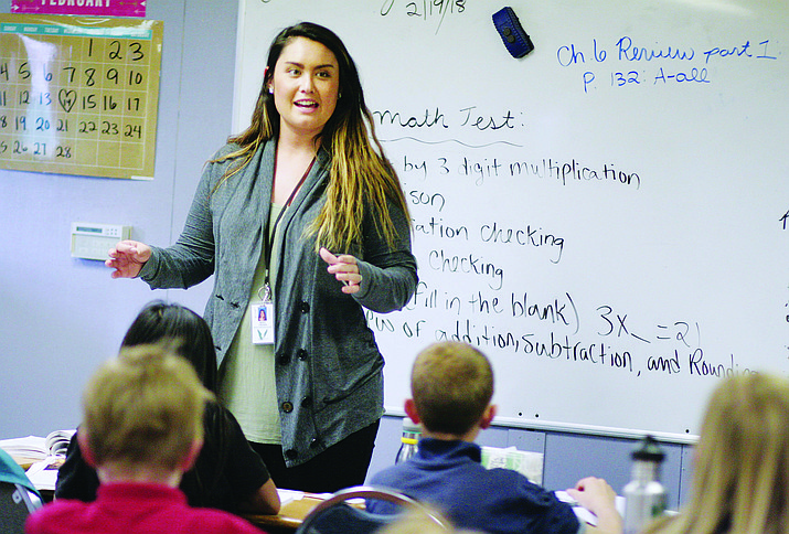 "Mary Frewin, a fifth-grade teacher at Camp Verde's United Christian School, says her teaching style is to ""engage the students as much as possible with hands-on learning."" VVN/Bill Helm"