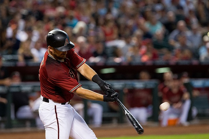 Pinch-hitter Jeff Mathis, the last position player on the Arizona bench, singled home with the game-winning run Tuesday night against the Dodgers.