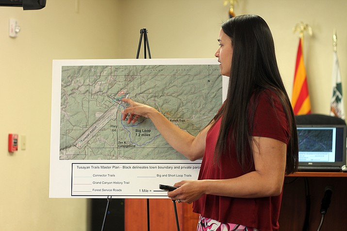 Sirena Dufault of Trails Inspire explains proposed trails for the Tusayan community at a public meeting March 28.  (Erin Ford/WGCN)