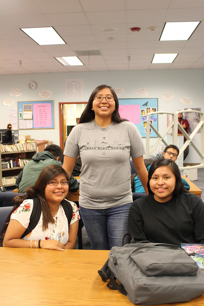 Brianna Laban, a Hopi High graduate, with Hopi High students Mallory Nutumya and Myra Mahle. (Stan Bindell/NHO)
