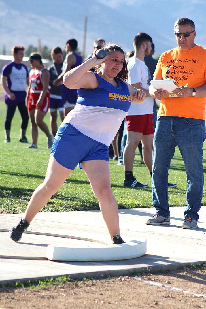 Kingman High's Makayla Baca set a new personal record Wednesday in the shot put at 29-feet, 3-inches.