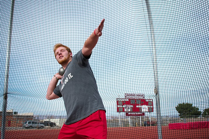 Mingus Union junior Kendrew Streck set the school record in the shot put last week and is ranked first in the state in that event and sixth in the discus (VVN/Halie Chavez)