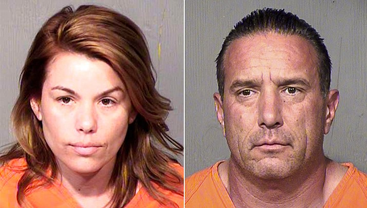 A married couple who worked as detectives face felony charges in the alleged thefts and pawning of state-owned guns and other equipment. Autumn Maya, a now-former state Department of Economic Security detective, is accused of theft, fraud, forgery, trafficking in stolen property, money laundering and conspiracy, while her husband, Phoenix police Detective Michael Darrick Maya, is accused of trafficking in stolen property, money laundering and conspiracy. (Maricopa County Sheriff's Office)
