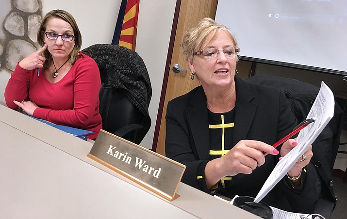 Beaver Creek School Board member Karen Dufresne and District Superintendent Karin Ward, from left, discuss possible high school programming that could be offered at the K-8 school. Monday, the board will continue discussions on possibly offering high school curriculum as it hosts the superintendents and business managers at both Camp Verde and Mingus Union high schools. (Photo by Bill Helm)