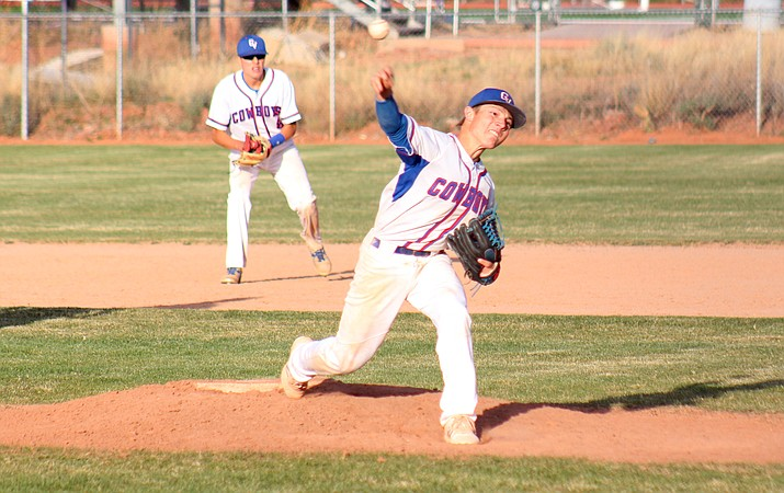 Camp Verde junior Dominiq Bruno gave up five hits and zero walks and got a complete game shut out in the Cowboys' 10-0 win over Northland Prep on Friday. (VVN/James Kelley)