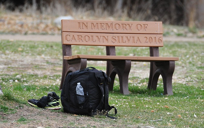 A bench often used by the homeless sits empty for now March 22, 2018, at Granite Creek Park in Prescott. (Les Stukenberg/Courier)