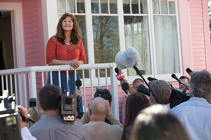 Little Pink House: Catherine Keener as Susette Kelo is interviewed regarding her case against the Supreme Court surrounding eminent domain abuse (Courtney Balaker/Courtesy)