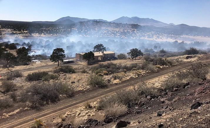 Residents of Winona, a small community east of Flagstaff, were asked to evacuate as a precaution due to a fast-moving wildfire Sunday, April 8, 2018. (Arizona State Forestry photo)