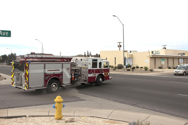 A fire truck from Kingman Fire Department turns onto Stockton Hill Road after receive a call for service. KFD's operations division responded to 7,511 calls for service in 2017, according to its annual report.