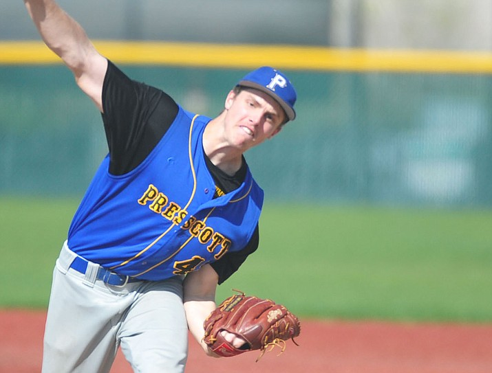 Prescott's Kody Jones pitched a one-hit shutout as the Badgers beat Bradshaw Mountain 10-0 Tuesday, April 10, 2018, in Prescott Valley.  (Les Stukenberg/Courier)