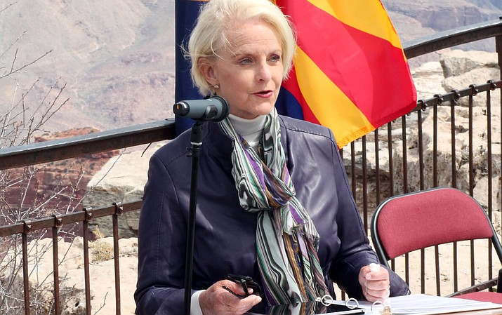 Cindy McCain reads a statement on behalf of her husband, Sen. John McCain. (Erin Ford/WGCN)