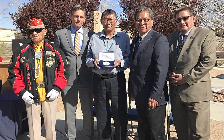 Former Navajo Code Talker Adolph Nagurski was honored for his service at an award ceremony at New Mexico Veterans Memorial in Albuquerque, New Mexico April 3. (Todd Roth/NHO)