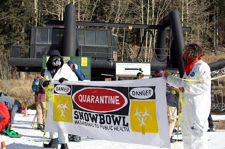 In November, protestors blocked a portion of the ski run  at Arizona Snowbowl in Flagstaff as the skie area prepared to open with only man-made snow. Protestors later moved when law enforcement threatened action. (Photo/Dustin Wero)