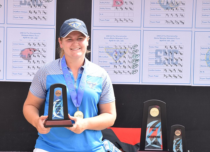 Embry-Riddle's Jessica Williams holds her trophy after claiming the individual title for the 2018 Cal-Pac Golf Championships on Tuesday, April 10, 2018, in Mesa. Williams fired a 3-over par 75 Tuesday, surpassing teammate Nicole Lopes for the title. (Terry Licht/Courtesy)