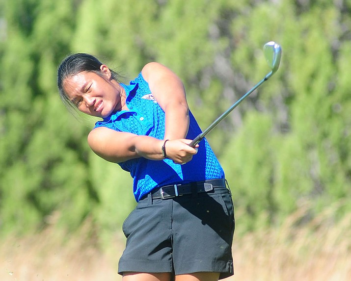 Embry-Riddle's Nicole Lopes hits an approach shot Oct. 17, 2016, in Prescott. Lopes sits atop the 2018 Cal-Pac Golf Championships leaderboard after her 2-over par 146 performance Monday, April 9, 2018, at Mesa Country Club. (Les Stukenberg/Courier, File)