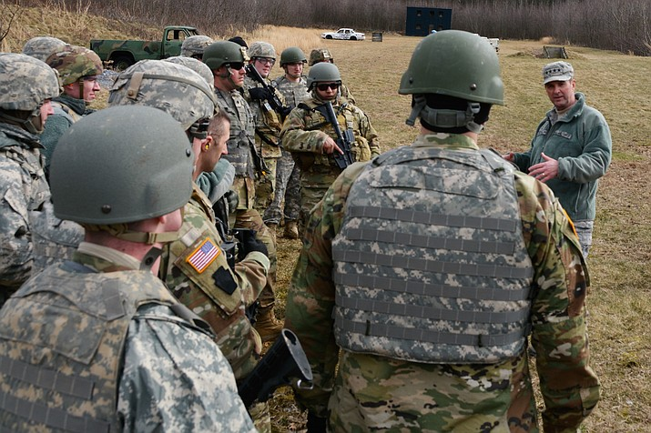 Gen. Joseph L. Lengyel, 28th Chief of the National Guard Bureau and a member of the Joint Chiefs of Staff, visited D Company, 1st Battalion, 109th Infantry Regiment, 2nd Infantry Brigade Combat Team, 28th Infantry Division, Pennsylvania National Guard, at Fort Indiantown Gap April 7. (U.S. Army National Guard photos by Lt. Col. Angela King-Sweigart)