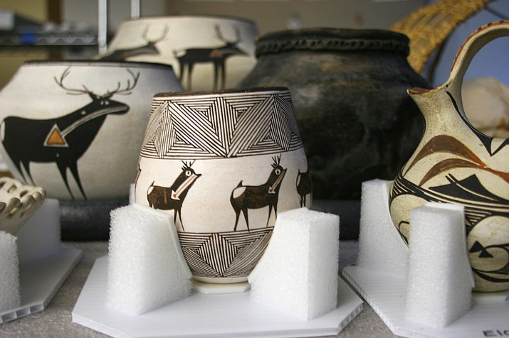 Examples of pottery from the museum's collection at the new, permanent exhibit now on display at Museum of Northern Arizona's Native People of the Colorado Plateau. (Museum of Northern Arizona)