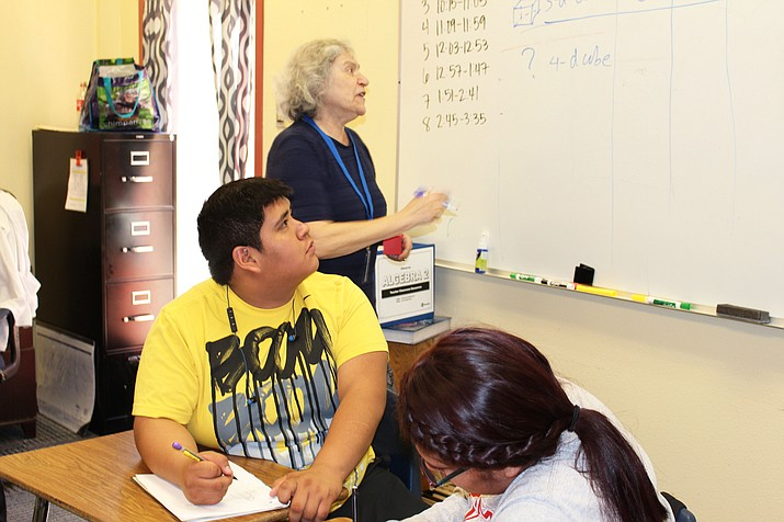 Math Specialist with Alliance of Indigenous Math Circles, Tatianna Shubin gives a math lesson at Hopi High School. (Stan Bindell/NHO)