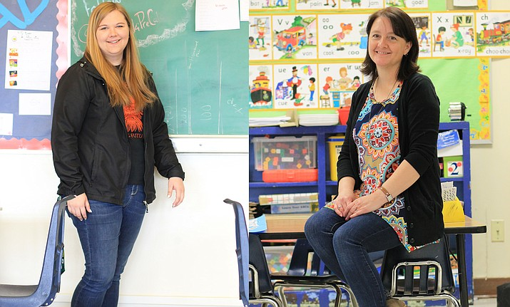 Left: Williams High School math teacher Catherine Kowalski is a finalist for Coconino County Rookie Teacher of the Year. Right: Williams Elementary kindergarten teacher Louise Durant is a finalist for Coconino County Teacher of the Year. Winners will be announced at the annual awards dinner April 18. (Wendy Howell/WGCN)