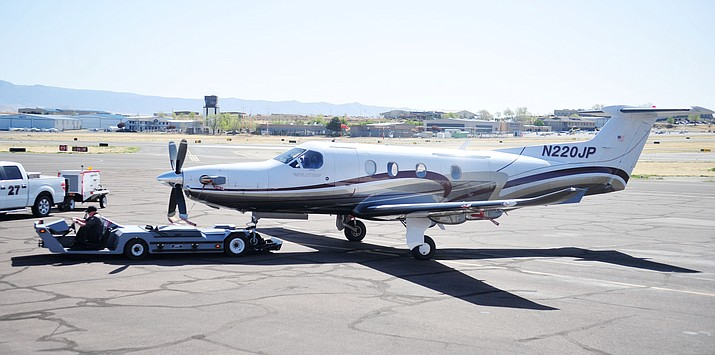 Boutique Air brought one of its eight-passenger, Pilatus PC12 aircraft to Prescott for dignitaries to view Monday, April 9, 2018. (Les Stukenberg/Courier)