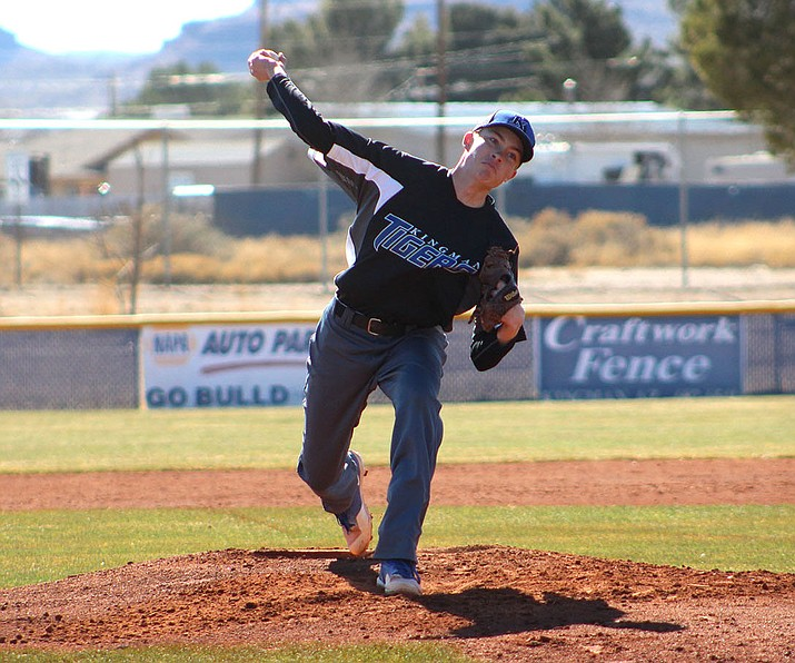 Kingman Academy's Bradley Hecker struck out seven MALC batters during his perfect game Thursday against MALC.
