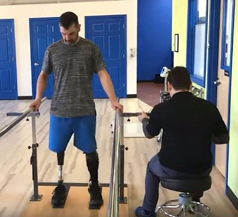 Boston marathon survivor Mark Fucarile visits  prosthetist in Boston.