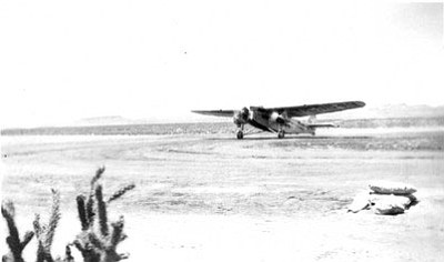 The City of Los Angeles landing at the Port of Kingman airport. Charles Lindbergh was the pilot.