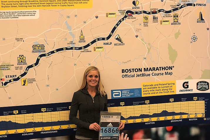 Kingman resident Anna Benson will be running her third marathon Monday on Patriots' Day in Massachusetts after qualifying for the event in January 2017 at the Arizona Rock 'n' Roll Marathon.
