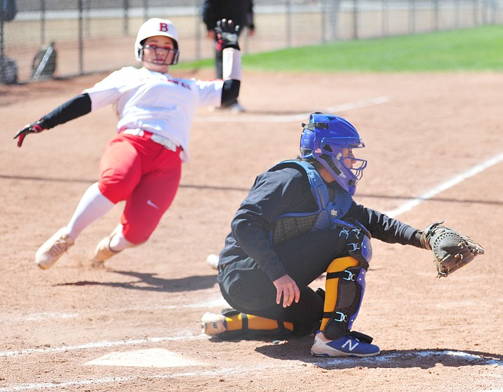 Embry-Riddle's Elyssa Bramer gets the ball at home with a runner approaching as the Eagles take on Benedicine-Mesa in Prescott Friday, April 13, 2018. (Les Stukenberg/Courier)