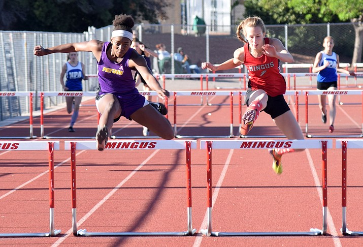 Mingus senior Hannah DeVore wins the 300 meter hurdles at the Mingus Invitational on Friday. (VVN/James Kelley)