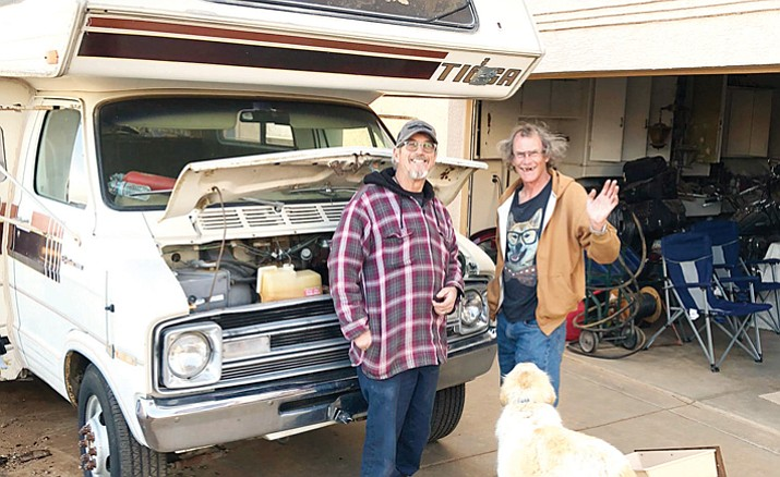 Bruce Franklin Sr., left, and Robert Heaney stand next to an RV that Bruce and his wife, Pamela, intend to donate to Heaney, who recently found himself homeless in Prescott. (Max Efrein/Courier)