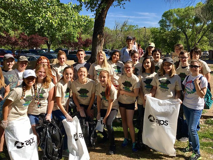 Students from Tri-City Prep collected trash along the creeksides at Granite Creek Park on Saturday, April 22, 2017. Once again this year, more than 500 friends and neighbors plan to clean up creeks, lakes and trails to celebrate local waterways and natural places. To participate in the event, set for Saturday, April 21, register at the website — www.PrescottCreeks.org/Cleanup. (Prescott Creeks/Courtesy)