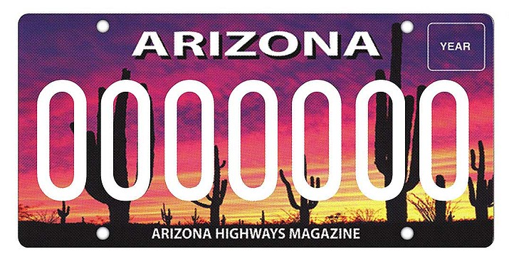 The Arizona Highway license plate features a sunset at Saguaro National Park. (ADOT)