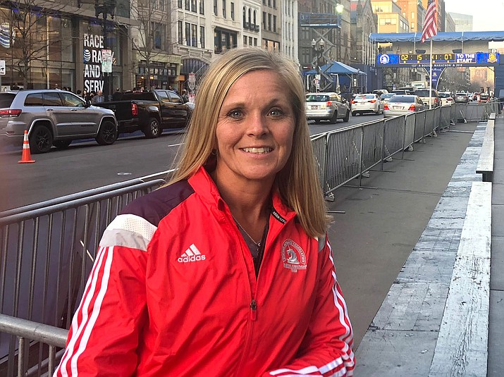 Anna Benson finished the Boston Marathon in 3 hours, 40 minutes and 29 seconds.