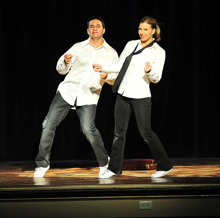 Leo Gallegos and Michelle Fain perform at the Dancing for the Stars event at the Elks Theatre and Performing Arts Center in Prescott Saturday, April 14, 2018. (Les Stukenberg/Tribune)