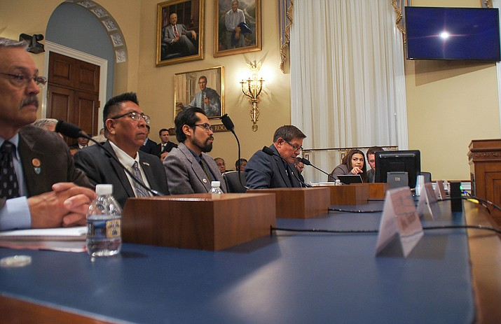 Hopi Tribal Chairman Timothy Nuvangyaoma (second from left) and Navajo Nation Council Speaker LoRenzo Bates (on far right) testify before a Natural Resources sub-committee April 12. (Navajo Nation Council Speaker's Office)