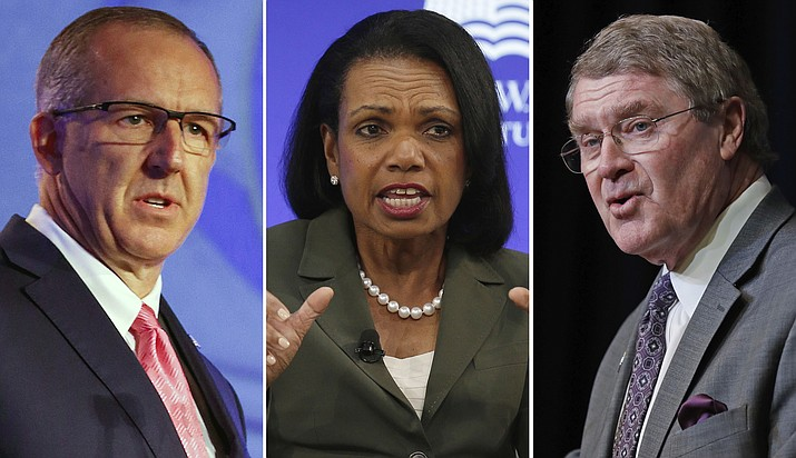 From left to right: SEC commissioner Greg Sankey, former U.S. Secretary of State Condoleezza Rice and ACC commissioner John Swofford are all part of a committee studying corruption in college basketball. (AP File Photos)